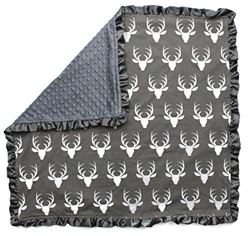 Dear Baby Gear Baby Blankets, Antlers on Grey, Grey Minky