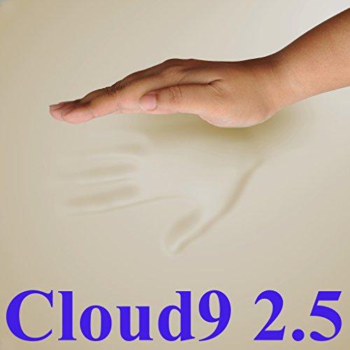 2.5 Cloud9 Gel-Enhanced Queen 2 Inch 100% Visco Elastic Memory Foam Mattress Topper