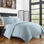 Zen Bamboo Ultra Soft 3-Piece BambooFull/QueenDuvet Cover Set –Hypoallergenic and Wrinkle Resistant, Sky Blue