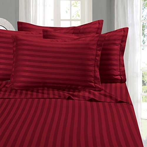 Elegant Comfort #1 Bed Duvet Cover Set on Amazon – Super Silky Soft – 1500 Thread Count Egyptian Quality Luxurious Wrinkle, Fade, Stain Resistant 3-Piece STRIPE Duvet Cover Set,King/Cal-King,Burgundy
