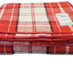 Woolly Mammoth Woolen Company Farmhouse Collection Wool Blanket (Red/Black/Cream Plaid)
