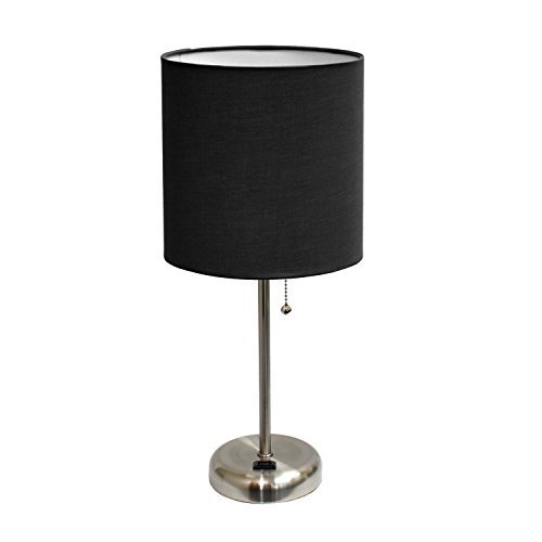 Limelights LT2024-BLK Stick Lamp with Charging Outlet and Fabric Shade, Black