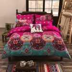 Vaulia Lightweight Microfiber Duvet Cover Set, Bohemia Exotic Patterns Design, Bright Pink – Twin Size