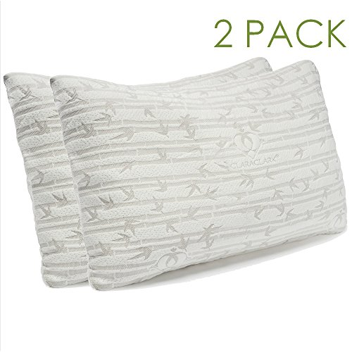 Clara Clark Rayon made from Bamboo Shredded Memory Foam Pillow, King / Cal King Size, Set of 2