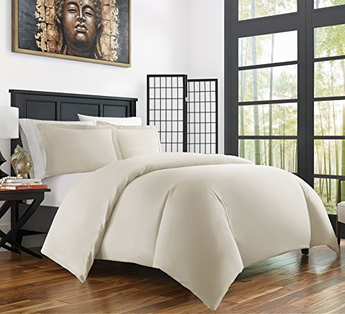 Zen Bamboo Ultra Soft 3-Piece BambooKing/Cal KingDuvet Cover Set –Hypoallergenic and Wrinkle Resistant, Cream