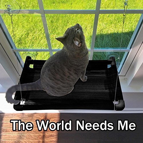 Cat Window Perch – Durable Cat Hammock for Window with Japan Made Cups hold up to 50lbs 100% Safe Cat Sunny Seat & Window Mounted Cat Bed Perfect Strong Cat Hammock for Your Kitty ENJOY SUNSHINE