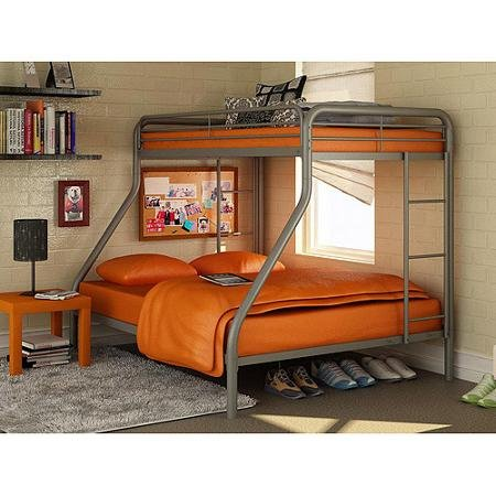 Twin Over Full Bunk Bed Metal Dorel Multiple Colors Space-Saving Design Durable Steel Frame Construction (Silver)