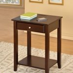 Cappuccino Finish Side End Table Nightstand with 3 USB Ports and Drawer