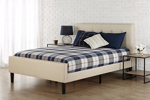 Zinus Upholstered Button Tufted Platform Bed with Footboard, Queen