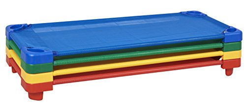 ECR4Kids Stackable Assembled Standard Kiddie Cots (4 Pack), Assorted Primary Colors