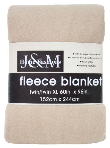 J & M Home Fashions 60-Inch by 96-Inch Fleece Blanket, Twin/Twin X-Large, Tan