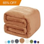 Balichun Luxury 330 GSM Fleece Blanket Super Soft Warm Fuzzy Lightweight Bed or Couch Blanket Twin/Queen/King Size(Queen,Tan)