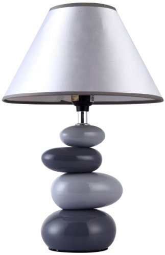 Simple Designs LT3052-GRY Shades of Gray Ceramic Stone Table Lamp