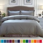Luxury Hotel Quality 100% Cotton Duvet Cover Set of 3 Pieces(1 Duvet Cover + 2 Pillow Shams)Queen Size Stone Gray Ultra Soft Hypoallergenic Fade Resistant by SUBAO Bedding