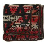 Ruth&Boaz Outdoor Wool Blend Blanket(G) (58″X51″) Ethnic Inka Pattern (WINE)