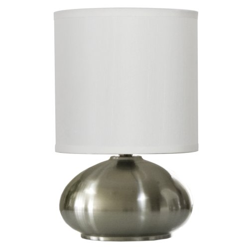 Light Accents Bedroom Side Table Lamp with 3-stage Switch Dimmer (Low, Bright, and Off) Brushed Nickel