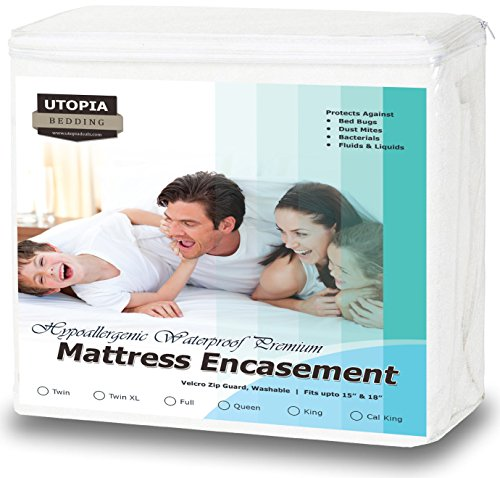 Premium Zippered Waterproof Mattress Encasement – Bed Bug Proof Mattress Cover – Ample Zipper Opening for Mattress Protector – Protection from Fluids, Insects and Dust Mites (Twin) by Utopia Bedding