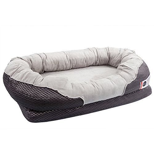 BarksBar Medium Gray Orthopedic Dog Bed – 32 x 22 inches – Snuggly Sleeper with Grooved Orthopedic Foam, Extra Comfy Cotton-Padded Rim cushion and Nonslip Bottom