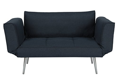 DHP Euro Sofa Futon Loveseat with Chrome Legs and Adjustable Armrests – Navy