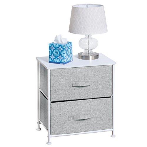 mDesign Fabric 2-Drawer Storage Organizer, Night Stand for Bedroom – Gray