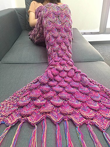 Queen Size Mermaid Tail Tassel Bed Blanket, Super Soft Warm Crochet Knitted Sleeping Bag Quilts (multi-pink)