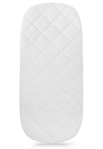 "iLuvBamboo Waterproof Bamboo Bassinet Mattress Pad Cover – The Oval Shape Sleeper Mattress Bedding – 29.5"" x 13.5"" – Secure Envelope Design – Silky Soft – Best for Machine Wash and Dryer Friendly"