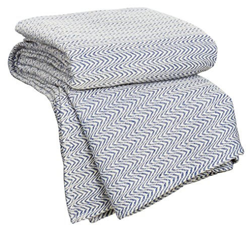 Lavish Home Chevron 100Percent Egyptian Cotton Blanket – Full/Queen – Blue