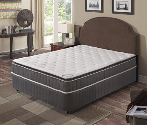 Spring Coil Mattress,Pillow Top ,Pocketed Coil, Orthopedic Queen Size Mattress with 5-Inch Split Box Spring , Acura Collection