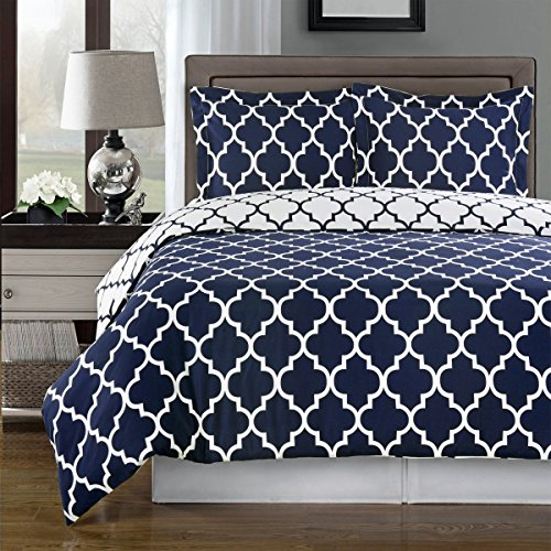 Navy and White Meridian King / Cal-king 3-piece Duvet-Cover-Set, 100 % Cotton 300 TC