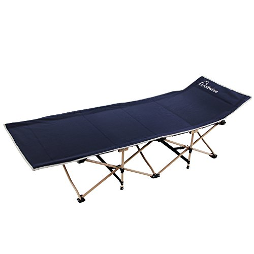 WolfWise Camping Folding Cots Office Rest Comfort Bed Heavy Duty Dark Blue