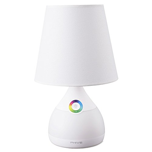 Phive Table Lamp for Bedroom / Living Room, Dimmable LED Bedside Lamp, Touch-Sensitive Control, 2-in-1 Warm White Light & Color Changing RGB Mood Light / Nightlight (White)