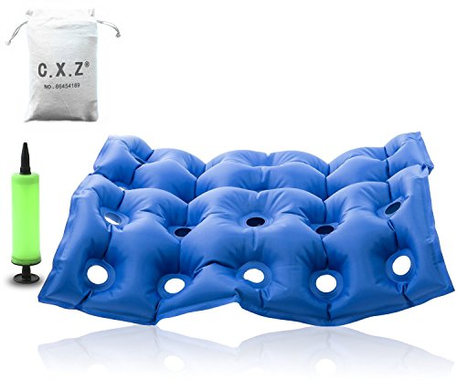 C.X.Z® FDA Medical Air Seat Inflatable Office Car Wheelchair Square Cushion Cushions Mattress with Pump – Anti Hip Decubitus Fatigue Prevent Bedsore for Long-time Sitting People