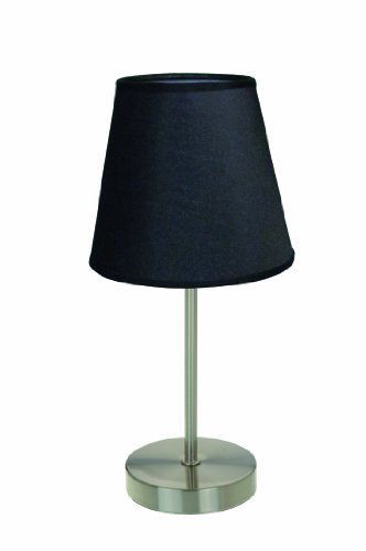 Simple Designs LT2013-BLK Sand Nickel Mini Basic Table Lamp with Fabric Shade, Black