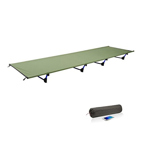 OUTAD Ultralight Folding Camping Bed Cot with Storage Bag 200KG Bearing Breathable Waterproof Bed Surface (Army green)