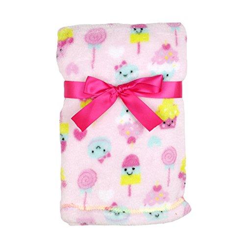 Baby Gear Plush Velboa Ultra Soft Baby Girls Blanket 30 x 40 Pink Candy Friends
