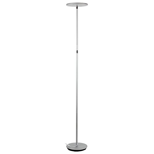 Brightech – SKY LED Torchiere Floor Lamp – Dimmable Super Bright 30-Watt LED – Warm White Color – Omni-Directional Head – Silver