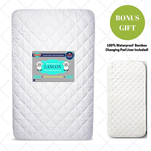 Pack N Play Crib Mattress Cover + BONUS Changing Pad Liner Included! – Waterproof, Hypoallergenic, Fitted with Ultra Soft Quilted Top – Fits Baby Playard, Portable & Foldable Mini Crib Mattresses