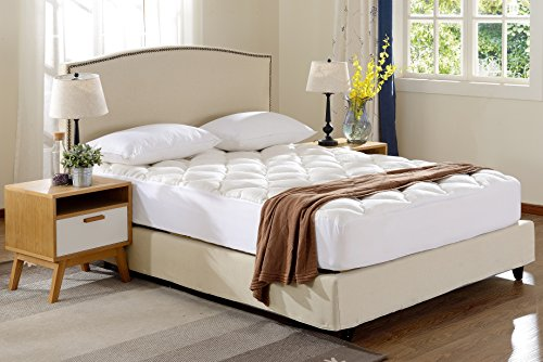 Cheer Collection Ultra Plush Eco-friendly Hypoallergenic Bamboo Fitted Mattress Topper – Twin