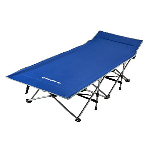 KingCamp Strong Stable Folding Camping Bed Cot with Storage Bag (Blue)