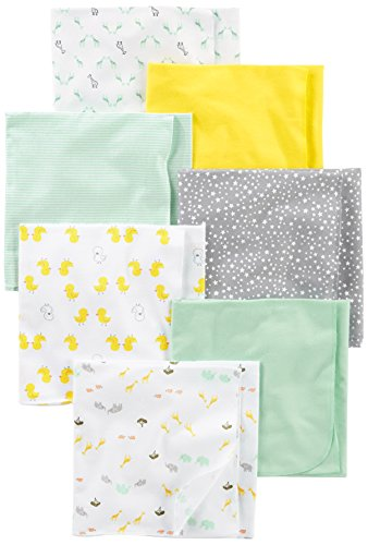 Simple Joys by Carter's Baby 7-Pack Flannel Receiving Blankets, Grey/White/Mint, One Size
