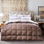 C&W Luxurious Goose Down Comforter Queen Size Goose Down Bedding Hypo-allergenic 750 FP 53 oz Solid Mocha/Sand