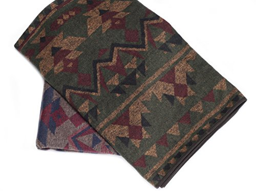 Ruth&Boaz Outdoor Wool Blend Blanket(F) (60″X51″) Ethnic Inka Pattern (GREEN)