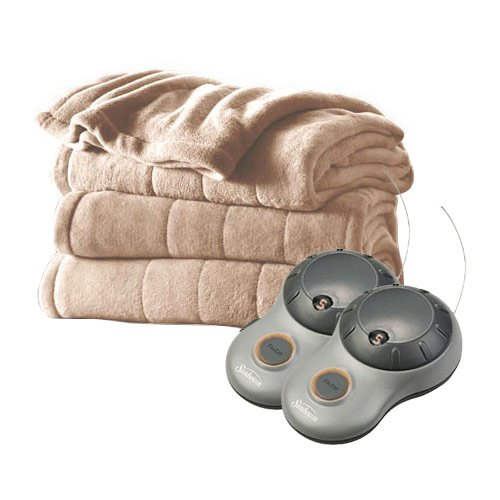 Sunbeam Queen Size Heated Blanket Luxurious Velvet Plush with 2 Digital Controllers, Sand