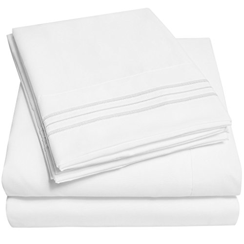 1500 Supreme Collection Extra Soft King Sheets Set, White – Luxury Bed Sheets Set With Deep Pocket Wrinkle Free Hypoallergenic Bedding, Over 40 Colors, King Size, White