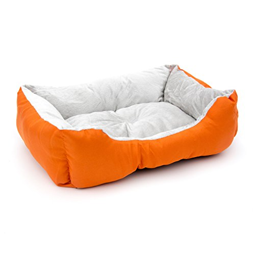 ALEKO PB06OR 20 x 16 x 6 Inch Soft Plush Pet Cushion Crate Bed for Cats and Dogs, Orange