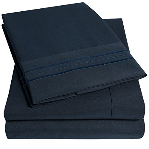 1500 Supreme Collection Extra Soft Full Sheets Set, Navy Blue – Luxury Bed Sheets Set With Deep Pocket Wrinkle Free Hypoallergenic Bedding, Over 40 Colors, Full Size, Navy