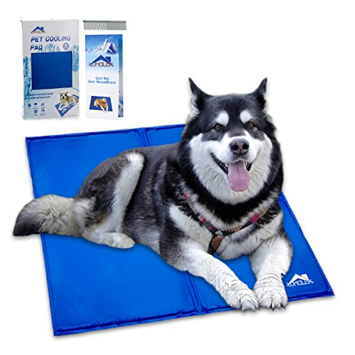 Whalek Pet Cooling Mat Pet Cooling Pad, Dog Self Cooling Mat Pad for Kenn els, Crates and Beds for XL Dogs 37X31.5 Large Blue, with Pet Comb
