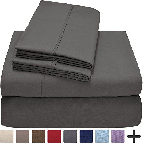Premium 1800 Ultra-Soft Microfiber Collection Queen Sheet Set, Hypoallergenic, Easy Care, Wrinkle Resistant, Deep Pocket (Queen, Grey)