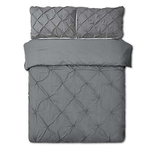 Word of Dream Duvet Cover Sets 3PC Pinch Pleat Microfiber, Full/Queen – Gray
