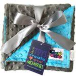 Reversible Unisex Children's Soft Baby Blanket Minky Dot (Turquoise/Grey)